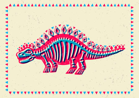 Illustrated greeting card with a stylized dinosaur. Printmaking. Can be used as a stamp on clothing, postage stamp, pattern on clothes