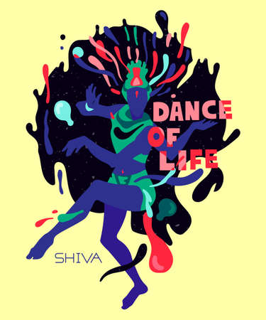 Hand-drawn psychedelic poster with the Hindu dancing god Shiva. Printing on t-shirts, clothes, bags, posters.