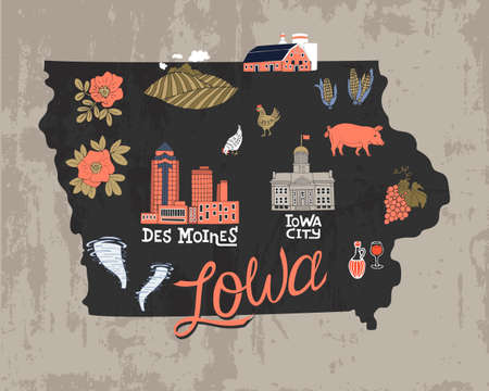 Illustrated map of  Iowa state, USA. Travel and attractions. Souvenir print