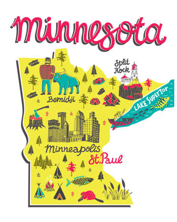 Illustrated map of Minnesota, USA. Travel and attractions. Souvenir print