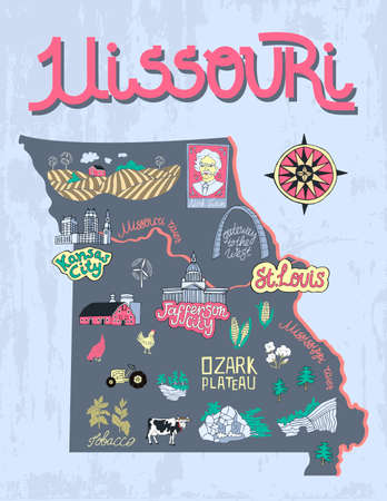 Illustrated map of  Missouri, USA. Travel and attractions. Souvenir print 向量圖像
