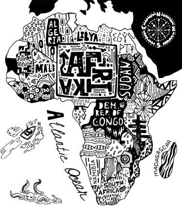 Illustrated map of Africa. Decorative ornamental poster with African patterns