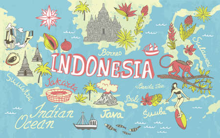 Illustrated tourist map of Indonesia. Attractions and national features of the country