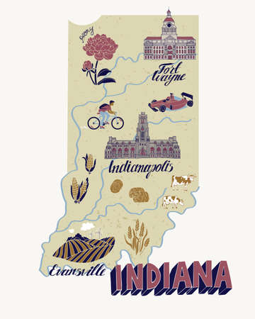 Illustrated map of Indiana, USA. Travel and attractions. Souvenir print