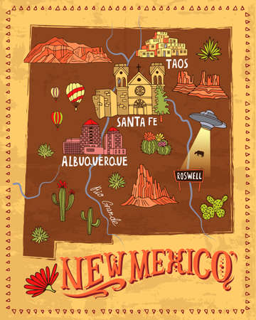 Illustrated map of New Mexico, USA. Travel and attractions. Souvenir print
