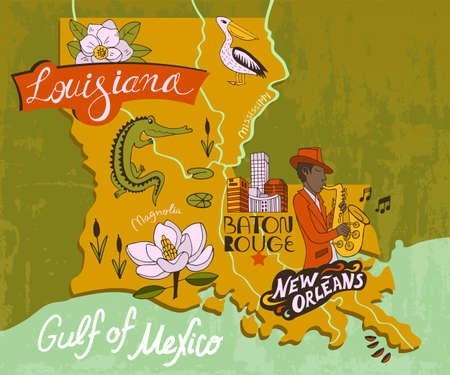 Illustrated map of Louisiana, USA. Travel and attractions. Souvenir print 矢量图像