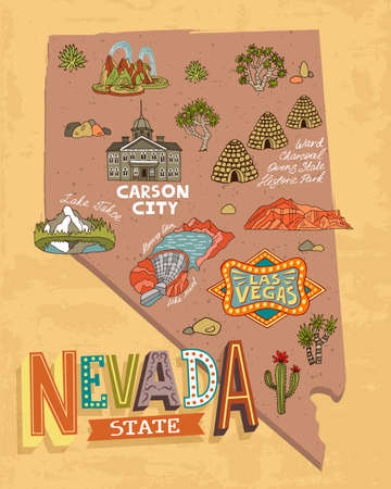 Illustrated map of Nevada, USA. Travel and attractions. Souvenir print