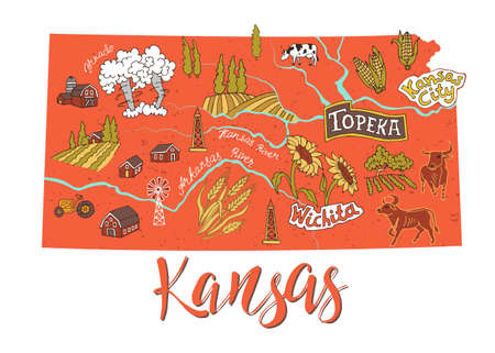 Illustrated map of Kansas, USA. Travel and attractions. Souvenir print