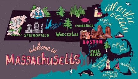 Illustrated map of Massachusetts state, USA. Travel and attractions. Souvenir print