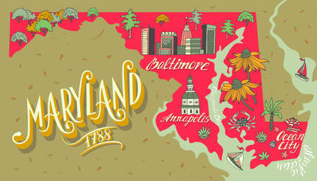Illustrated map of Maryland state, USA. Travel and attractions. Souvenir print  イラスト・ベクター素材