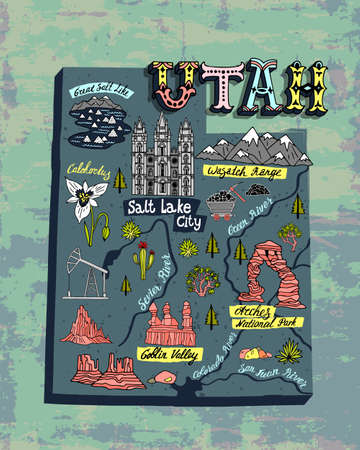 Illustrated map of Utah state, USA. Travel and attractions. Souvenir print