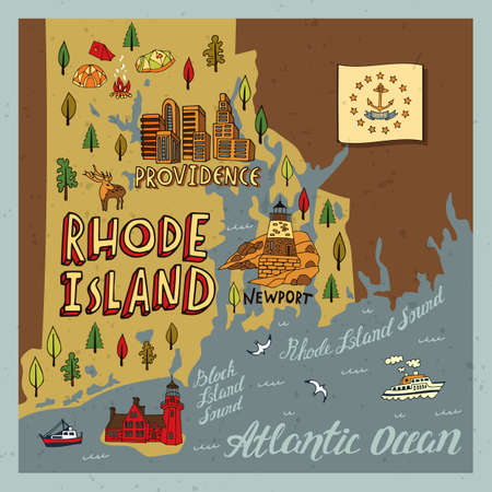 Illustrated map of Rhode Island state, USA. Travel and attractions. Souvenir print  イラスト・ベクター素材