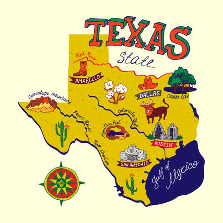 Illustrated map of Texas state, USA. Travel and attractions. Souvenir print