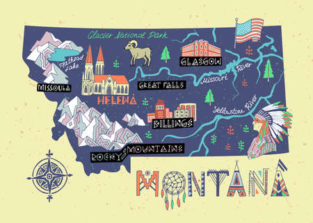Illustrated map of Montana state, USA. Travel and attractions. Souvenir print  イラスト・ベクター素材
