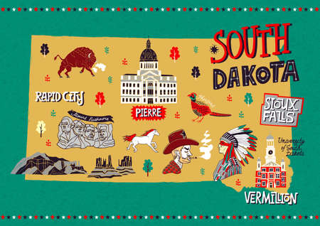 Illustrated map of South Dakota, USA. Travel and attractions. Souvenir print