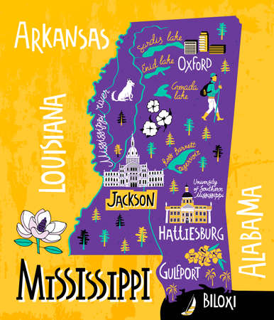 Illustrated map of Mississippi state, USA. Travel and attractions. Souvenir print