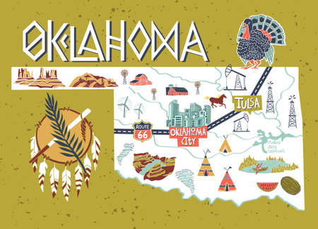 Illustrated map of Oklahoma state, USA. Travel and attractions. Souvenir print