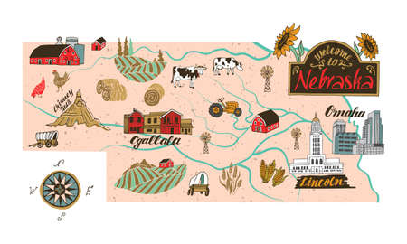 Illustrated map of Nebraska state, USA. Travel and attractions. Souvenir print  イラスト・ベクター素材