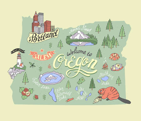 Illustrated map of Oregon, USA. Travel and attractions. Souvenir print