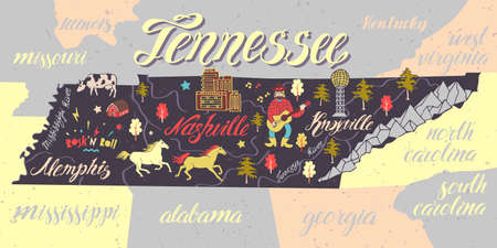 Illustrated map of Tennessee, USA. Travel and attractions. Souvenir print  イラスト・ベクター素材