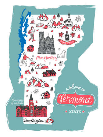 Illustrated map of Vermont, USA. Travel and attractions. Souvenir print  イラスト・ベクター素材