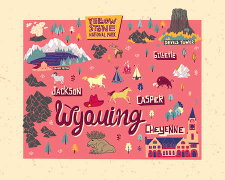Illustrated map of Wyoming, USA. Travel and attractions. Souvenir print