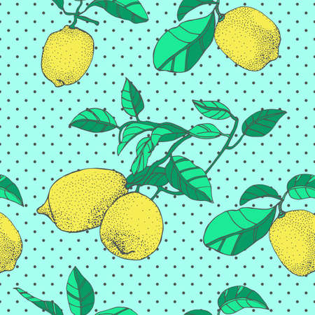 Seamless pattern with an ornament from naturally drawn lemon. Can be used in design on textiles, wrapping paper.