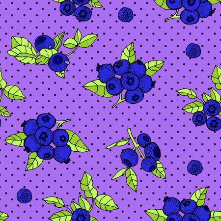 Seamless pattern with an ornament from naturally drawn blueberry. Can be used in design on textiles, wrapping paper.