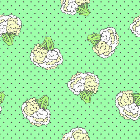 Seamless pattern with an ornament from naturally drawn cauliflower. Can be used in design on textiles, wrapping paper.  イラスト・ベクター素材