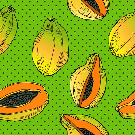 Seamless pattern with an ornament from naturally drawn papaya. Can be used in design on textiles, wrapping paper.