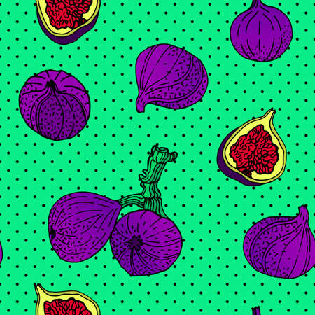 Seamless pattern with an ornament from naturally drawn figs. Can be used in design on textiles, wrapping paper.