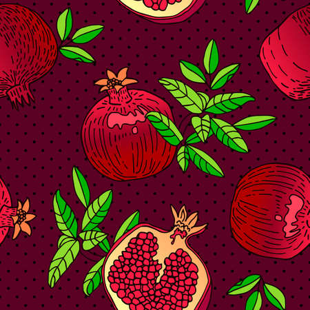 Seamless pattern with an ornament from naturally drawn Garnet. Can be used in design on textiles, wrapping paper.