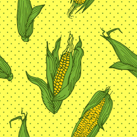 Seamless pattern with an ornament from naturally drawn corn. Can be used in design on textiles, wrapping paper.