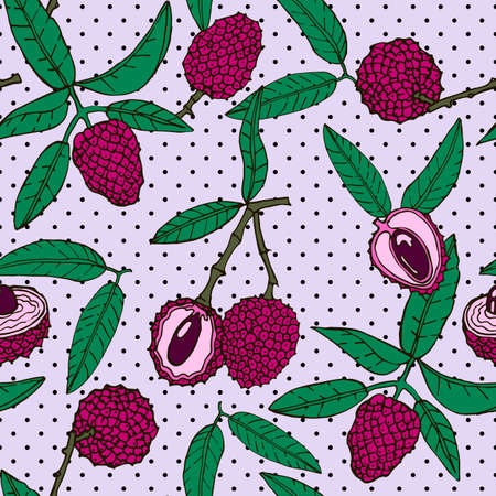 Seamless pattern with an ornament from naturally drawn lychee. Can be used in design on textiles, wrapping paper.