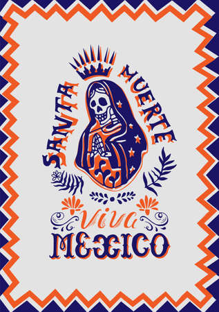 Illustration with Mexican Santa Muerte. Hand-drawn Postcard with elements of the Mexican national cult of the dead