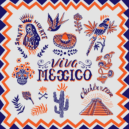 Viva Mexico! Collection of hand drawn decorative mexican symbols and elements