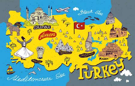 Illustrated cartoon map of Turkey. National and cultural landmarks. Souvenir merch