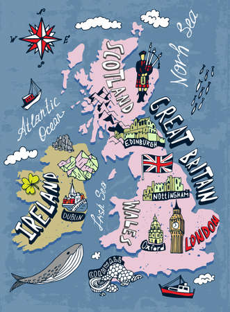 Tourist illustrated map of the Great Britain and Ireland. Travel and attractions of the United Kingdom