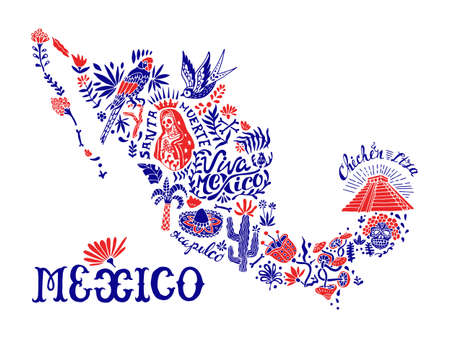 Illustrated stylized map of Mexico. National elements and symbols. Souvenir postcard