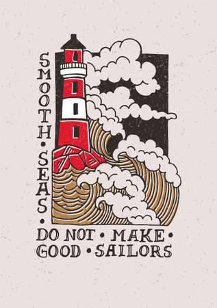 Printmaking illustration with a lighthouse. Can be used as a cover, poster, postcard or postage stamp