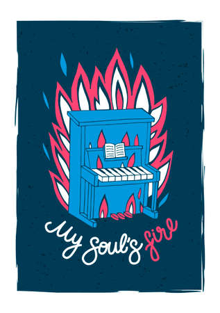 Illustrated card with piano and typography elements. Print for t-shirts, bags, clothes, posters.  イラスト・ベクター素材