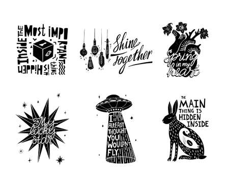 Illustrated set of black and white graphic illustrations with quotes and phrases. Can be used for printing on eco-bags, clothing, posters, stickers, postcards Vektorgrafik