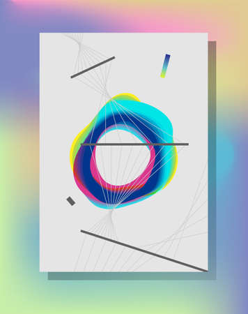 Minimalistic abstract cover design. Fluorescent color transitions. Design trend.  イラスト・ベクター素材