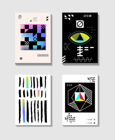 Minimalistic abstract cover set. Compositions with geometric objects. Modern design of covers, magazines, invitations