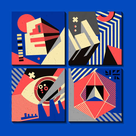 A set of cards with geometric ornaments in constructivist style. Elements can be used in posters, invitations, on T-shirts, bags.