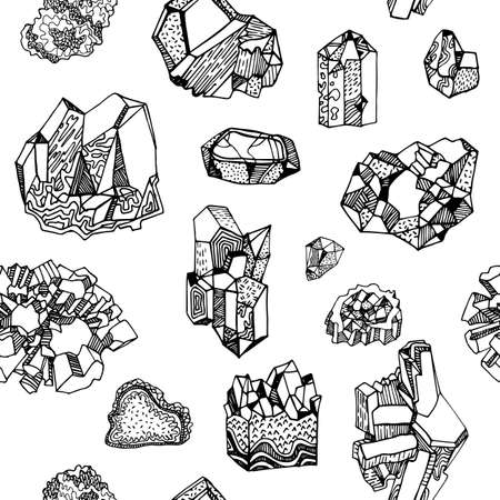 Seamless pattern with gems, crystals and minerals. Can be used as print on textiles and wrapping paper