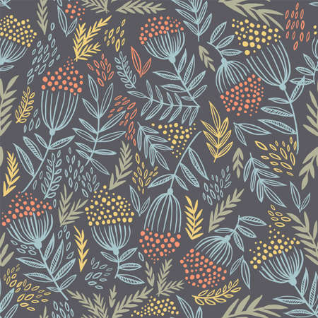 Seamless pattern with hand-drawn rowan branches. Boho style illustration. The pattern can be used in fabric prints, wrapping