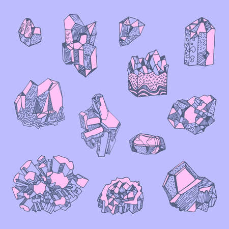 Set of hand drawn illustrations of crystals and minerals. Can be used as print on textiles and wrapping paper