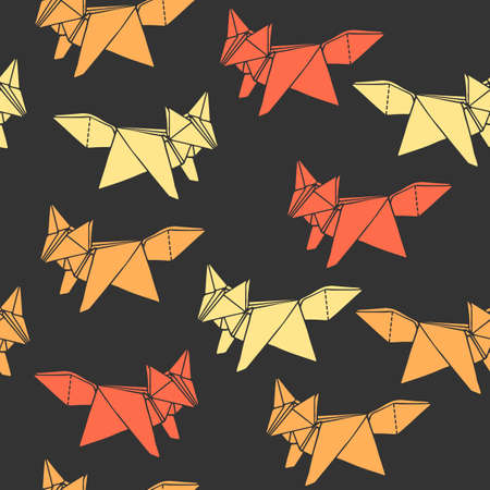 Seamless pattern with hand-drawn origami fox shapes. Can be used as print on textiles and wrapping paper  イラスト・ベクター素材