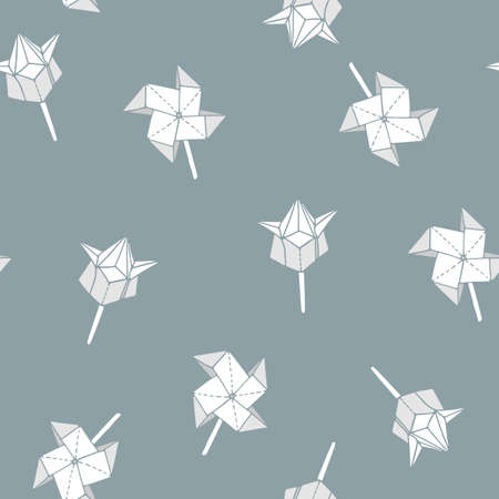Seamless pattern with hand-drawn origami spinner and tulip shapes. Can be used as print on textiles and wrapping paper